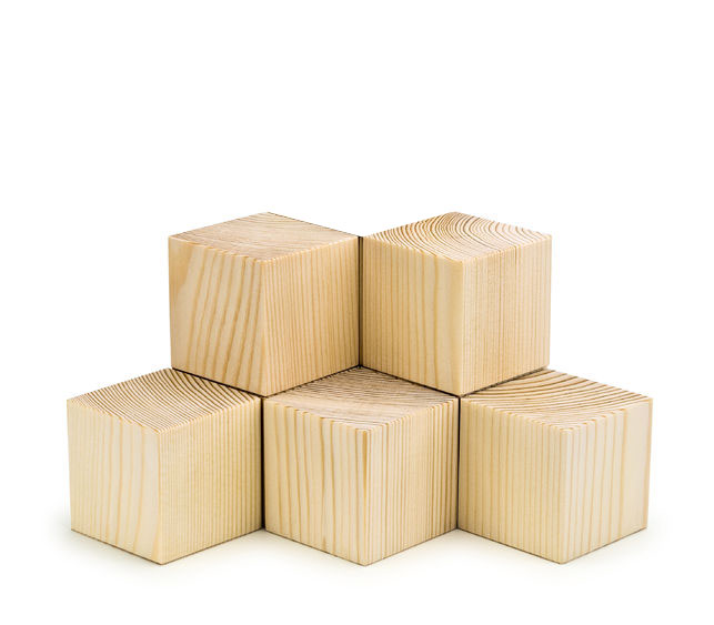 57057452 - pyramid combined from ten wooden cubes it is isolated on white